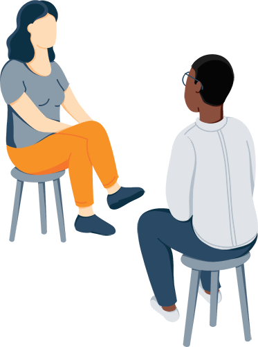Illustration of A Woman Sitting in a Chair with a Sponsor as She Talking