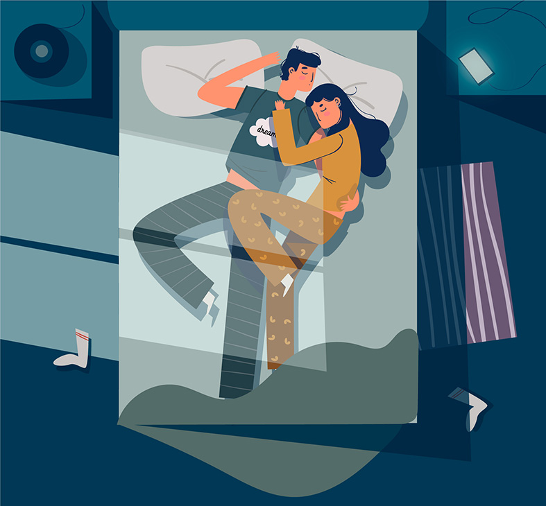 a couple is sleeping together vector image