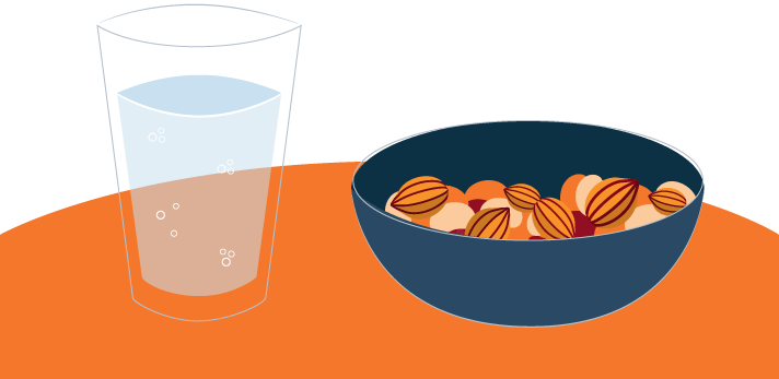 Bowl of Nuts and a Glass of Water Illustration
