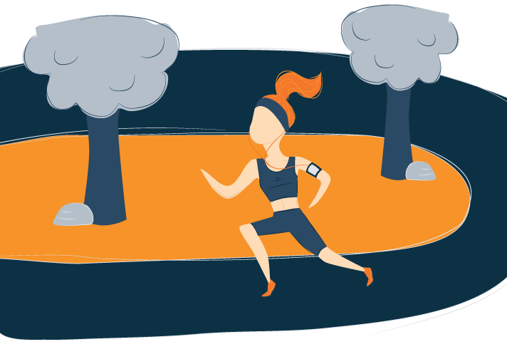 Illustration of A Woman Running on a Track in Athletic Gear
