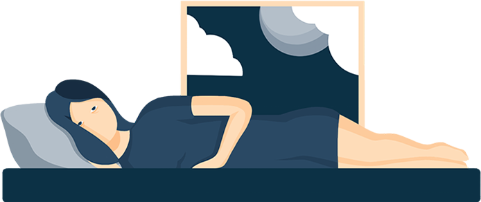 Illustration of An Exhausted Woman Struggling To Fall Asleep
