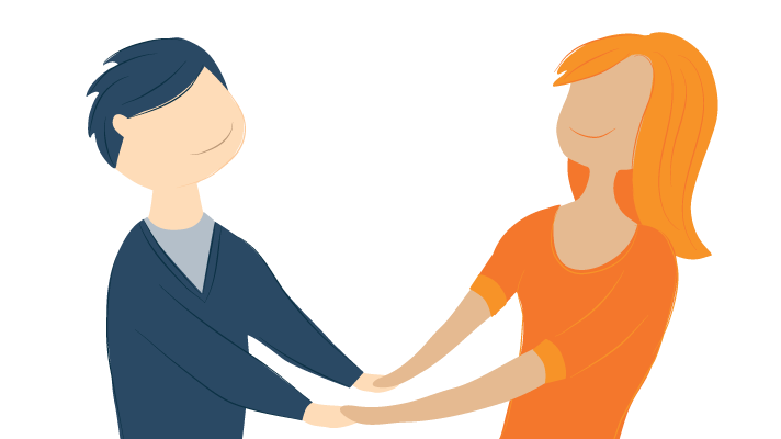 Illustration of a Couple Holding Hands and Smiling