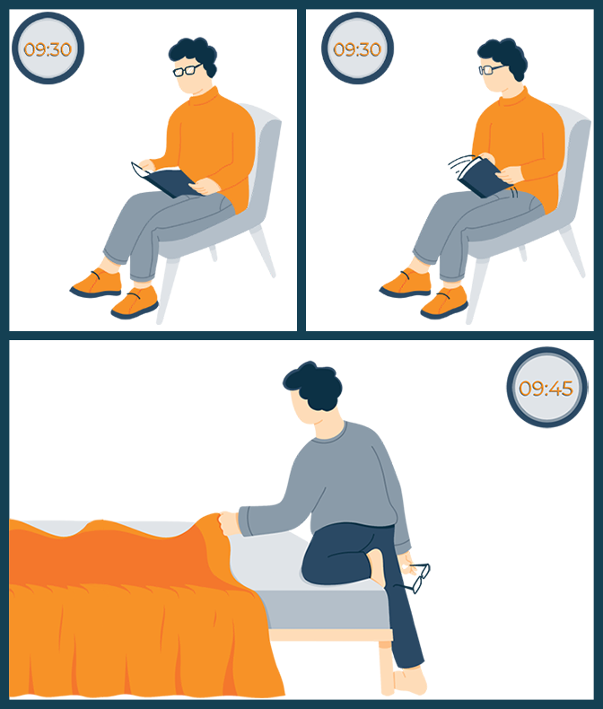 Illustration of a Guy Going to Bed After Noticing What Time It Is