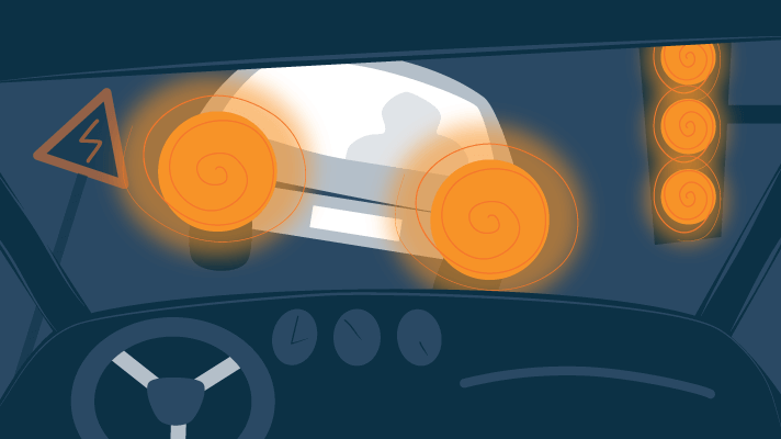 Illustration of a Traffic at Night with Hazy Headlights and Distorted Vision