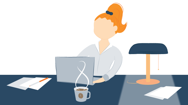 Student Sitting at a Well Organized Desk Working Illustration