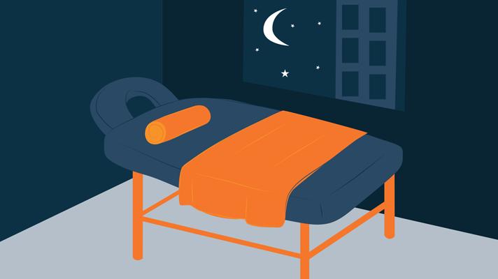 Illustration of Massage Table in a Dark Room