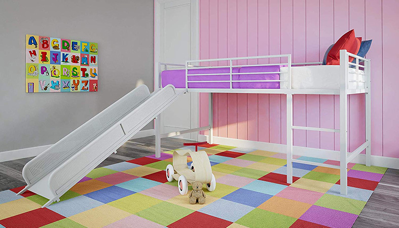 product image of loft bed with slide