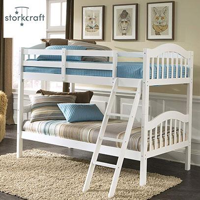 product image of stork craft Hardwood White bunk bed