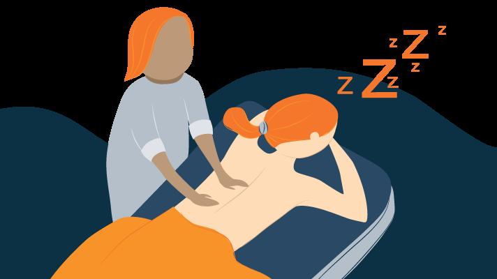 Woman Fell Asleep on Massage Table Illustration