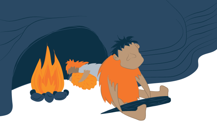 A Caveman Keeps Watch at Night While the Others Sleep Nearby a Fire Illustration