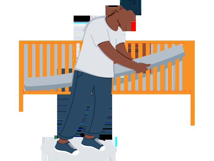 A Man Setting a Crib Mattress Illustration