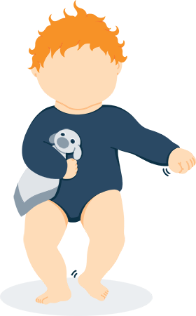 Baby Learning to Walk While Holding Their Lovey Illustration