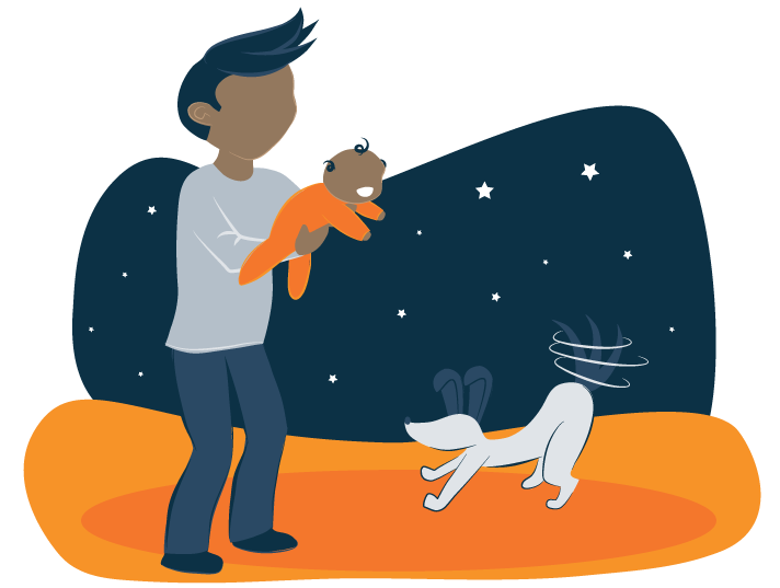 Baby smiles at family dog illustration