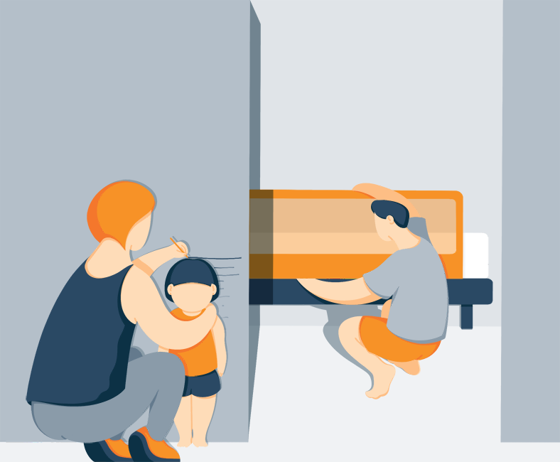 Dad Adjusting Bedrail Shorter as the Child Grows Illustration