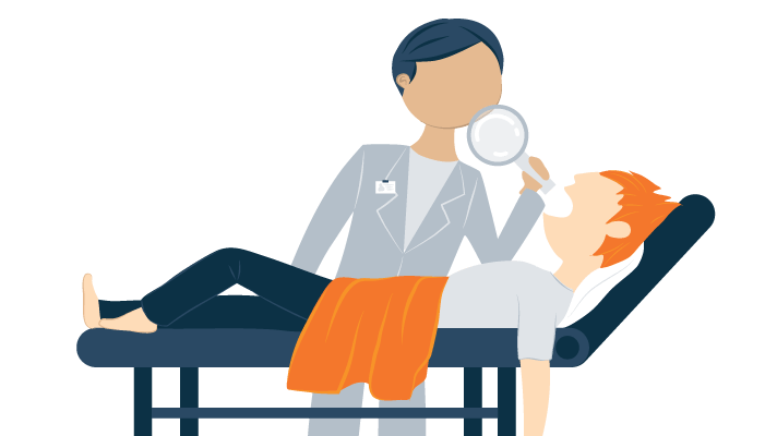 Illustration of A Scientist Looks at a Sleeping Person on an Exam Table