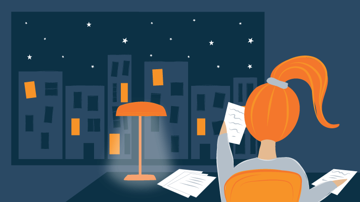 Illustration of A Teenager Doing Homework During the Night
