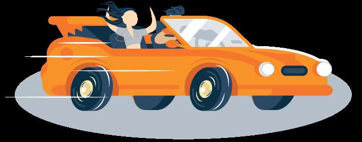 Illustration of Happy Teens Driving