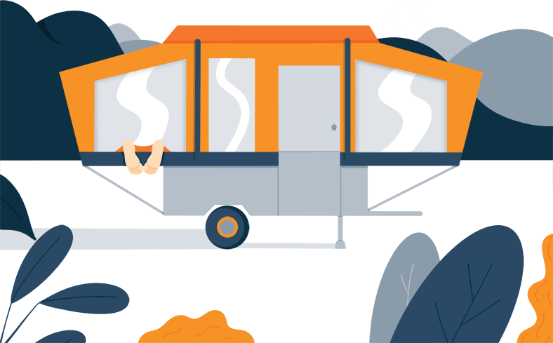 Illustration of a Camper in the Woods