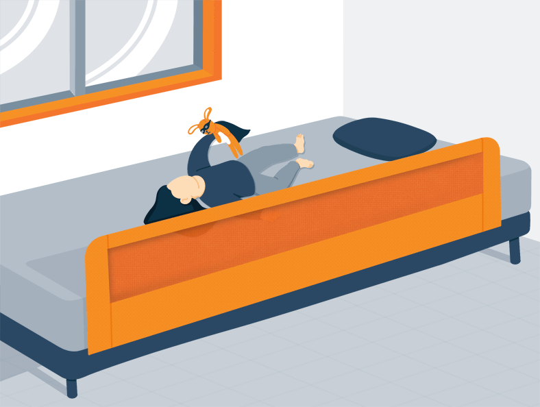Illustration of a Toddler Playing on Bad that Has Bed Rails
