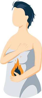 Illustration of a Woman Having Heartburn