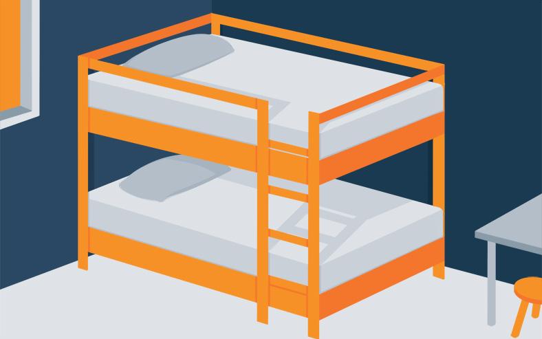Illustration of an Orange Loft Bed in Kid's Room