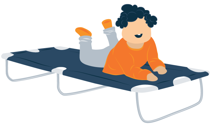 Kid on Foldable Toddler Travel Bed Illustration