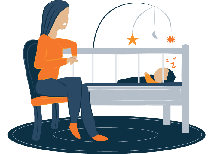 Mom Sitting by Baby's Crib Illustration