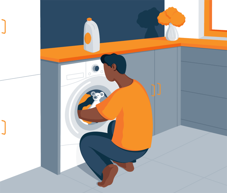 Parent Tossing the Lovey into the Washing Machine Illustration