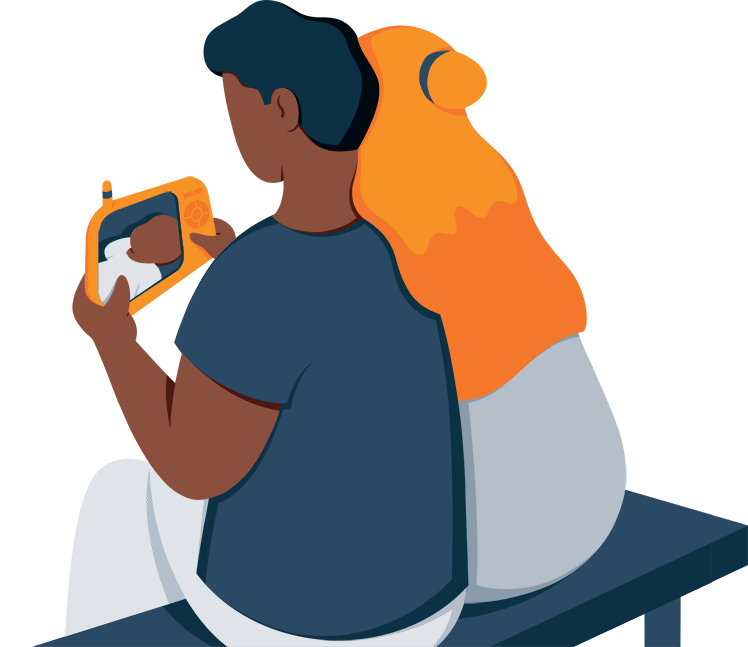 Parents Looking at the Screen of a Baby Monitor Illustration