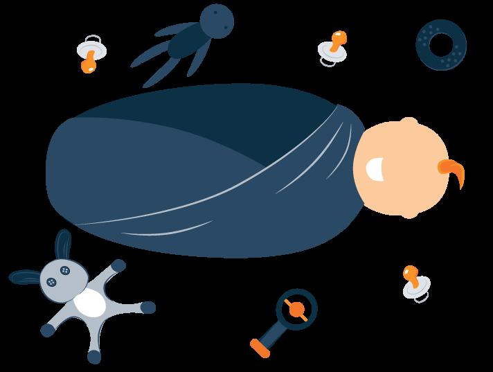 Swaddled Baby Smiling Illustration