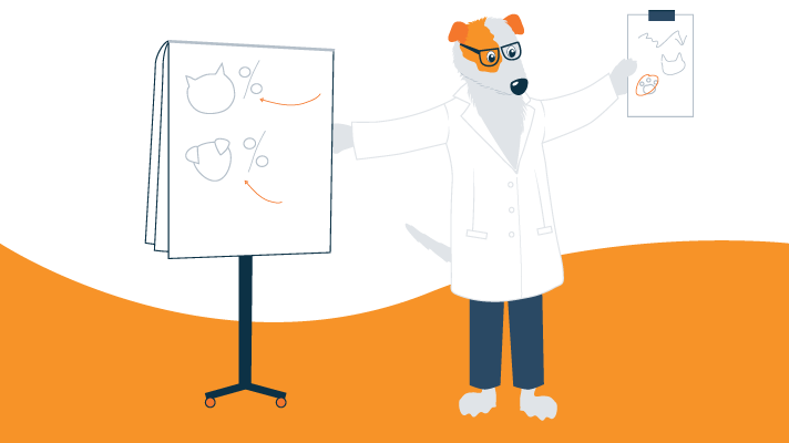 Illustration of Terrier Dog Wearing Lab-coat and Holding a Clipboard