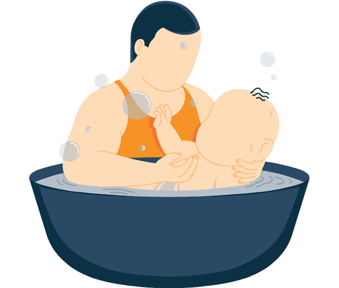 A Father Giving Baby a Bath Illustration