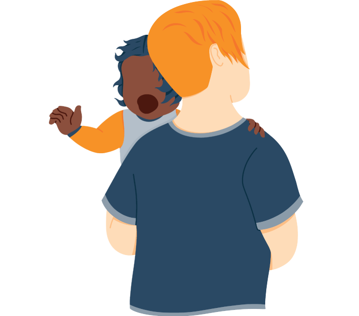 Baby Girl Crying Looking over Dads Shoulder Illustration