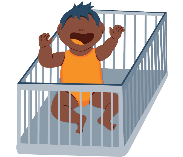 Baby Sitting up in the Crib Crying for their Parent Illustration