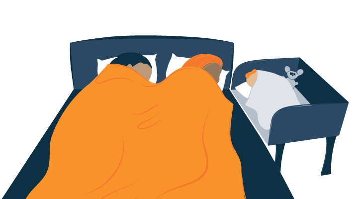 Baby Sleeping in Sidebed Next to Parents Illustration