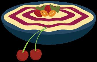 Beet hummus tart cherry topping Illustration