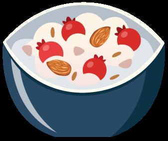Greek yogurt with almonds and honey Illustration