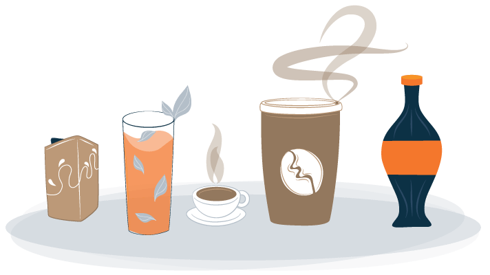 Illustration of Drinks that Contain Caffeine