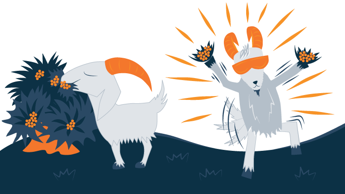 Illustration of Energetic Goats Eating Coffee Beans
