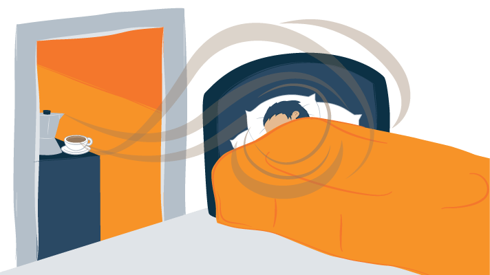 Illustration of a Man Waking up and Smelling the Coffee Aroma
