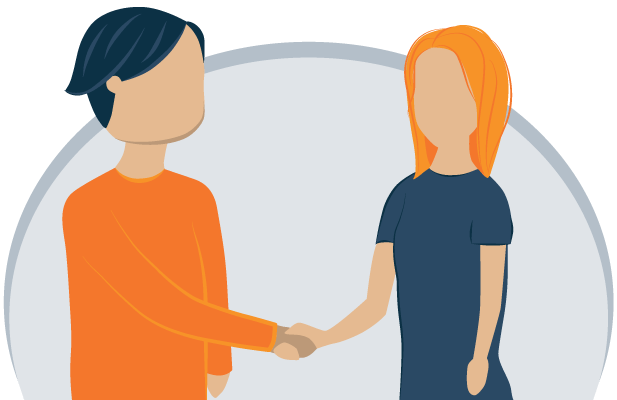 Illustration of a Man and Woman Shaking Hands