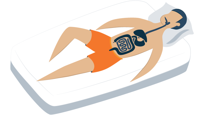 Illustration of a Person Laying Down in Bed and We See inside the Digestive System