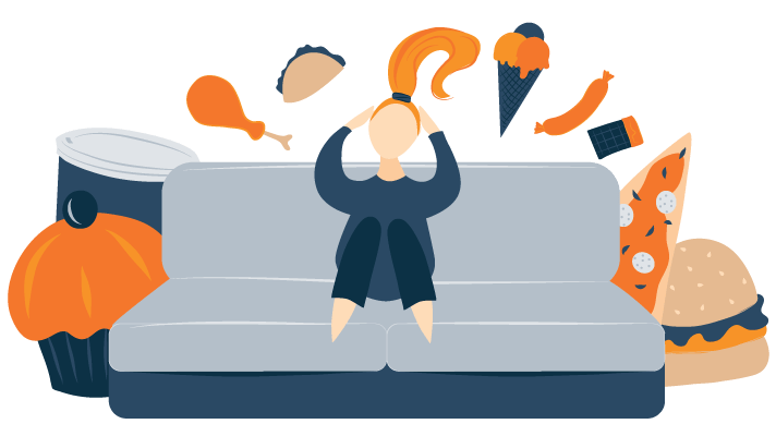 Illustration of a Woman Thinking about Food