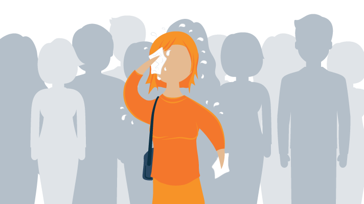 Illustration of a woman having anxiety attack while in crowd