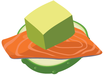 Salmon avocado cucumber bites Illustration