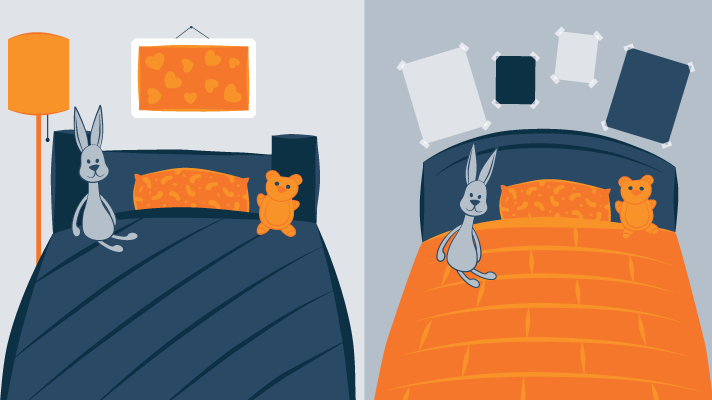 Same Toys in Two Bedrooms Illustration