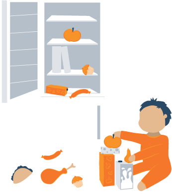 Sleepwalking Kid Playing with Food in the Kitchen Illustration