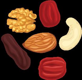 Tart chery walnut trail mix Illustration