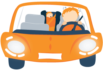 Tired Parent Driving a Car and the Baby Sleeping Loudly on the Back Seat Illustration
