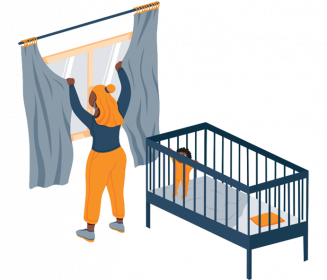 Woman Putting up Curtains in the Nursery Illustration